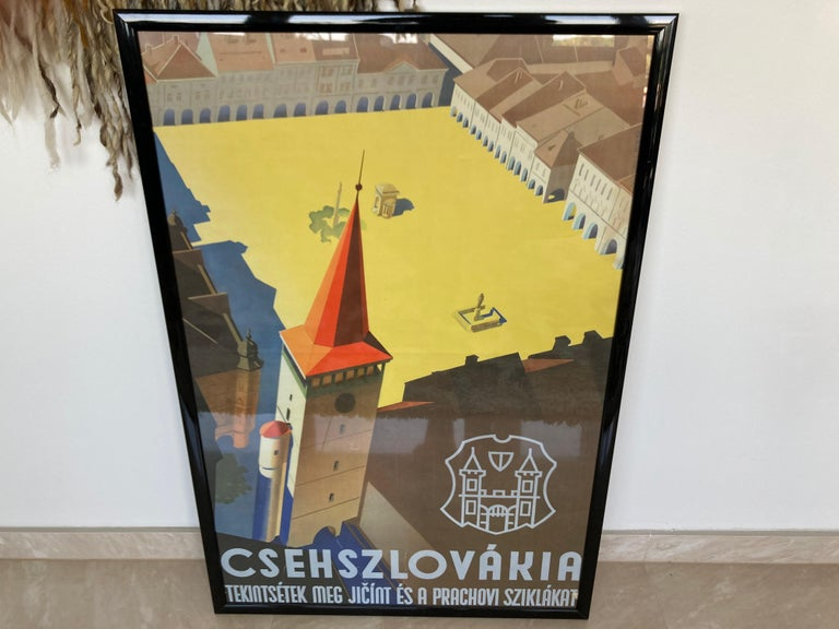 Czech Old Art Deco Advertising Poster, 1930s For Sale
