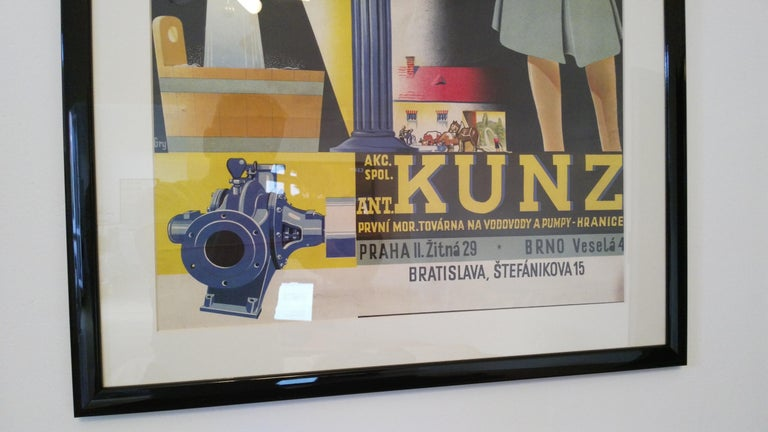 Old Art Deco Advertising Poster In Good Condition For Sale In Praha, CZ