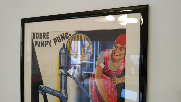 Mid-20th Century Old Art Deco Advertising Poster For Sale