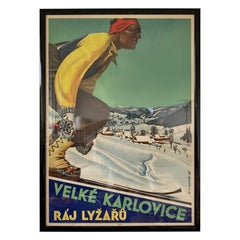 Old Art Deco Skier / Ski Resort Advertising Poster, 1930s