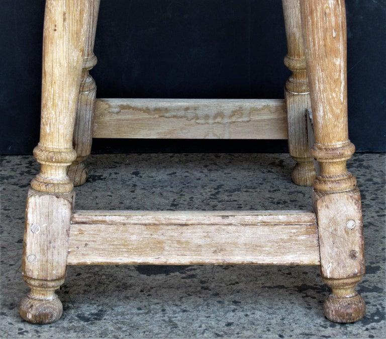 Old Artist Stool in Bleached Oak For Sale 6