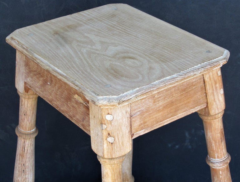 Old Artist Stool in Bleached Oak For Sale 8