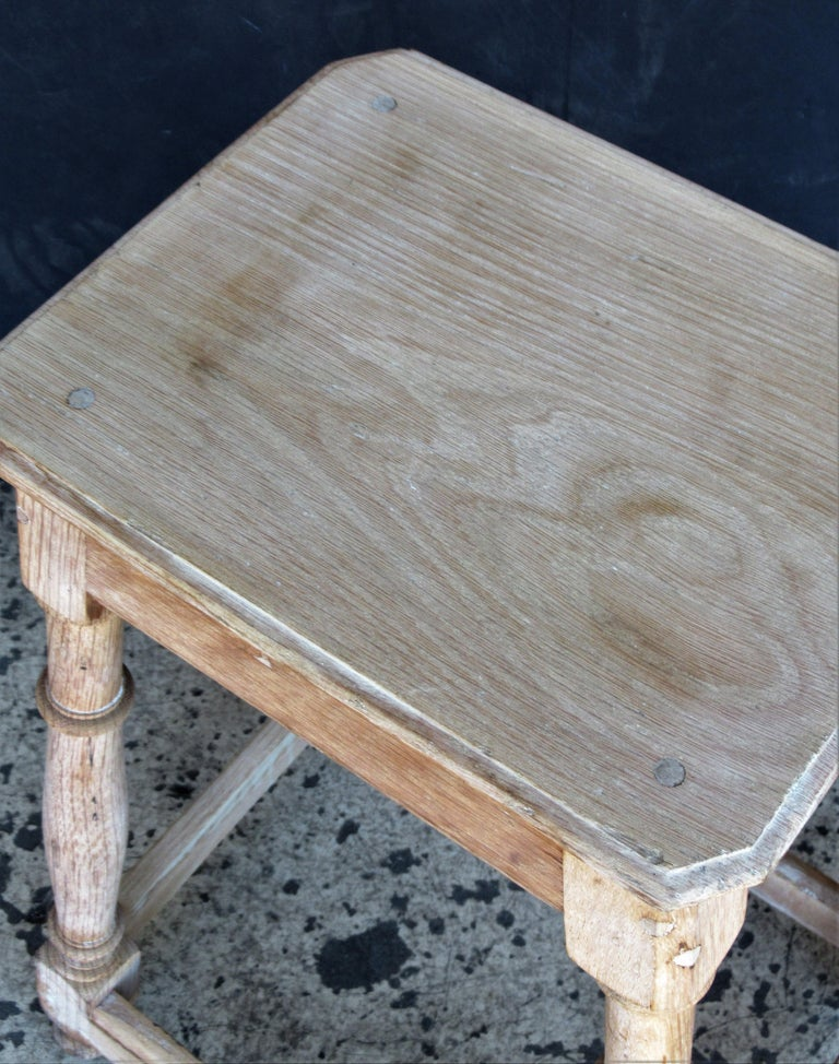 Old Artist Stool in Bleached Oak In Good Condition For Sale In Rochester, NY