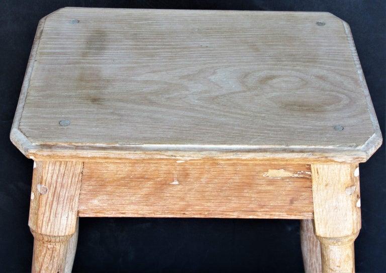 Old Artist Stool in Bleached Oak For Sale 2