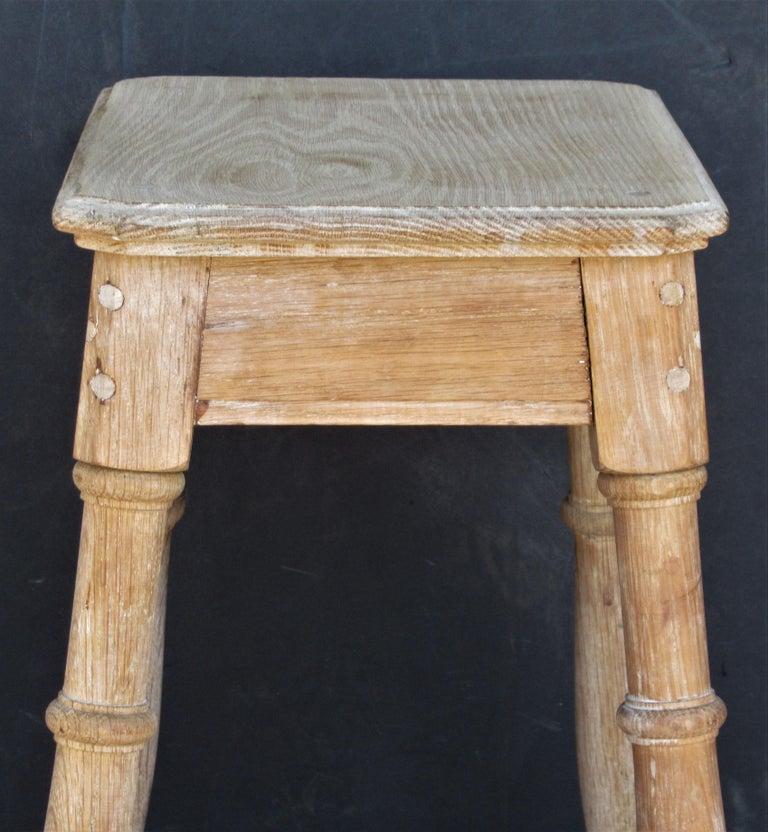 Old Artist Stool in Bleached Oak For Sale 5