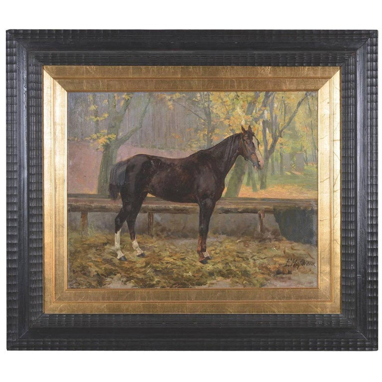Old Austrian Horse Painting, E: Hofman Signed For Sale