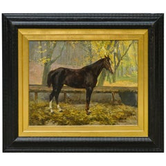 Old Austrian Horse Painting, Signed E.Hofman