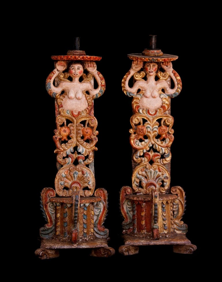 Baroque Old Bases for Pedestal Candles For Sale
