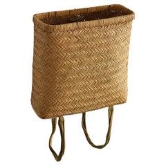 Old Basket Woven from Japanese Bamboo / Farm Tools / Folk Art / Flower Basket