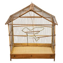 Old Bird Cage with a Bright Little Bird