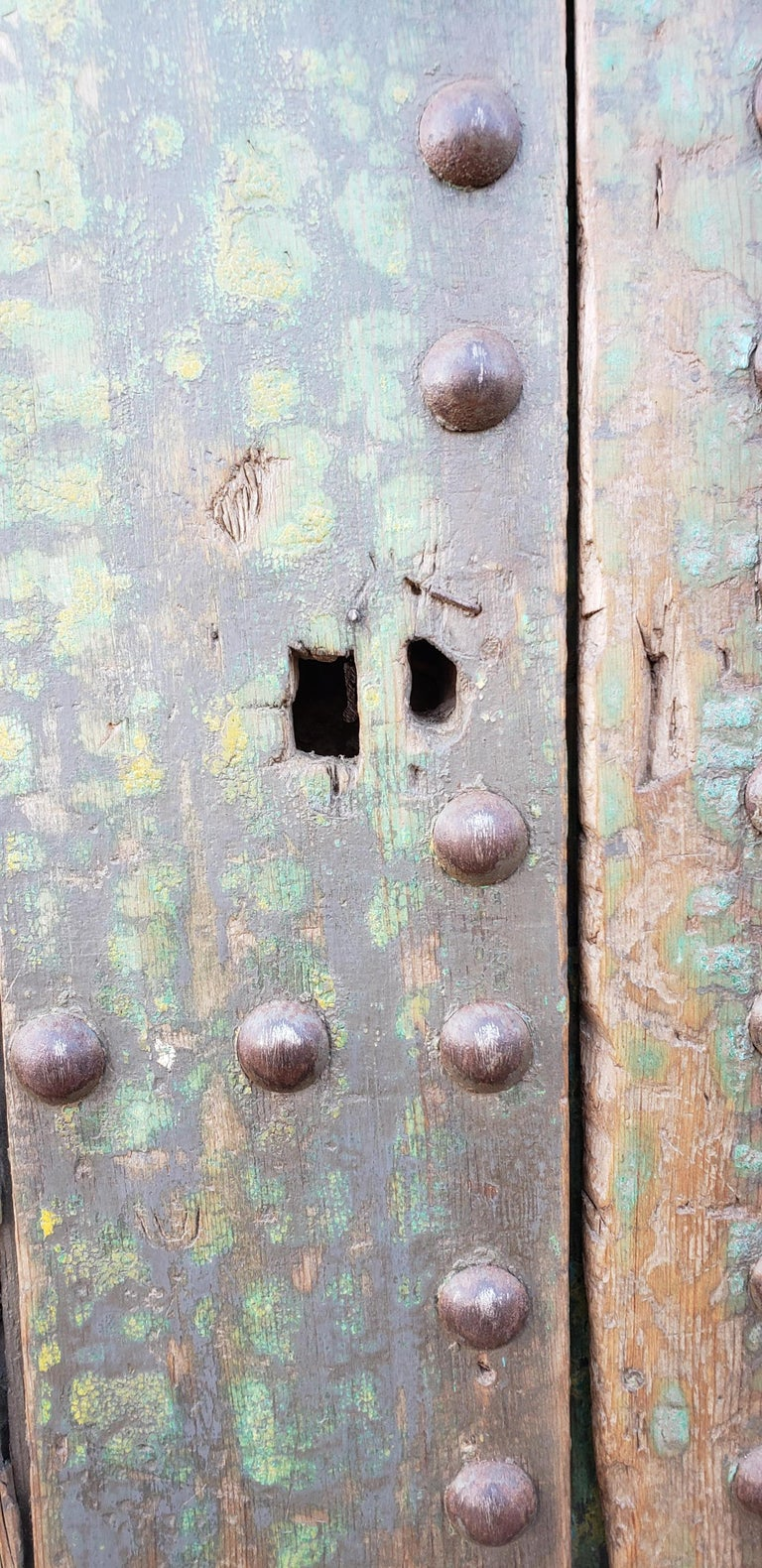 Carved Old Blue Moroccan Wooden Door, 23MD35 For Sale