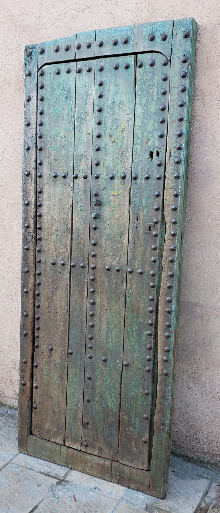 Early 20th Century Old Blue Moroccan Wooden Door, 23MD35 For Sale