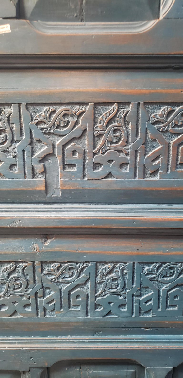 Carved Old Blue Moroccan Wooden Door, 23MD40 For Sale