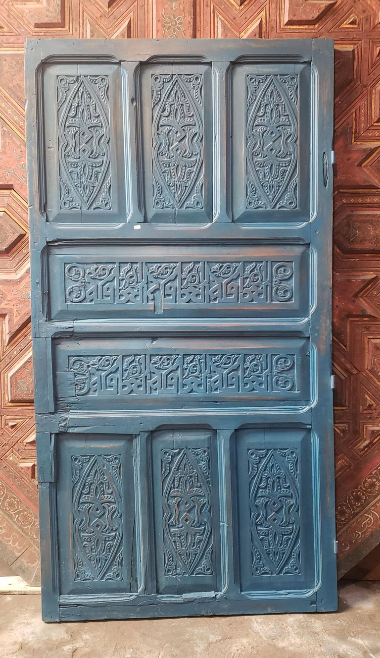 Early 20th Century Old Blue Moroccan Wooden Door, 23MD40 For Sale