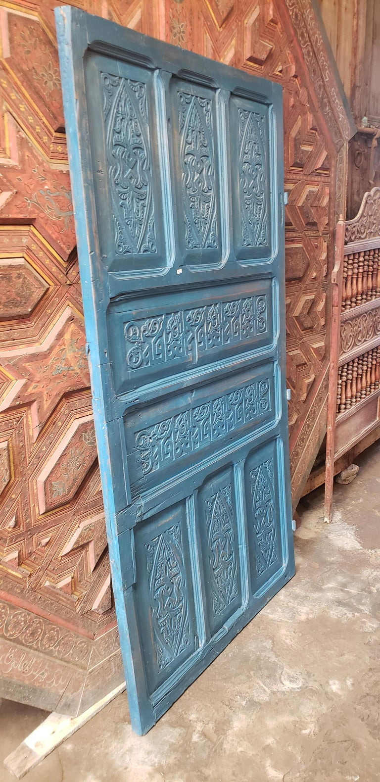 Old Blue Moroccan Wooden Door, 23MD40 For Sale 1
