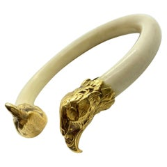 Old Bone Yellow Gold Eagle Bangle Bracelet