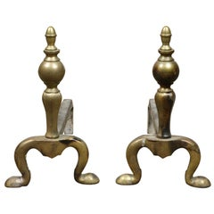 Old Brass Ball Shaped Fire Dogs, 20th Century