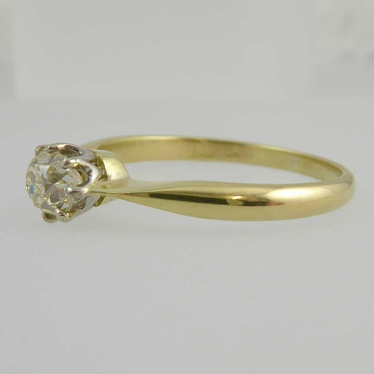 Modern Old Brilliant Cut Diamond Ring, 0.65 Carat Solitaire For Sale