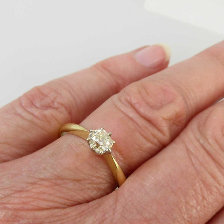 Old European Cut Old Brilliant Cut Diamond Ring, 0.65 Carat Solitaire For Sale