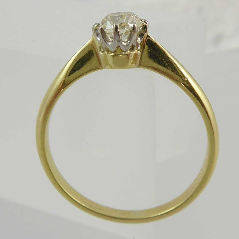 Old Brilliant Cut Diamond Ring, 0.65 Carat Solitaire In Good Condition For Sale In Yorkshire, West Yorkshire