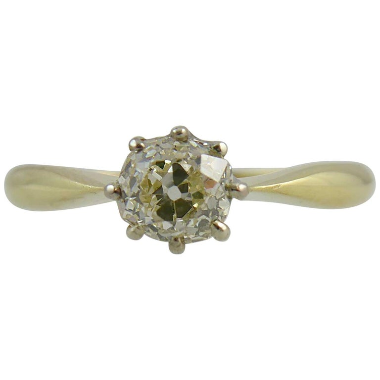 Old Brilliant Cut Diamond Ring, 0.65 Carat Solitaire For Sale