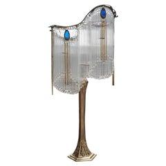 Old Bronze Art Nouveau Guimard's Lamp and Pâte de Verre