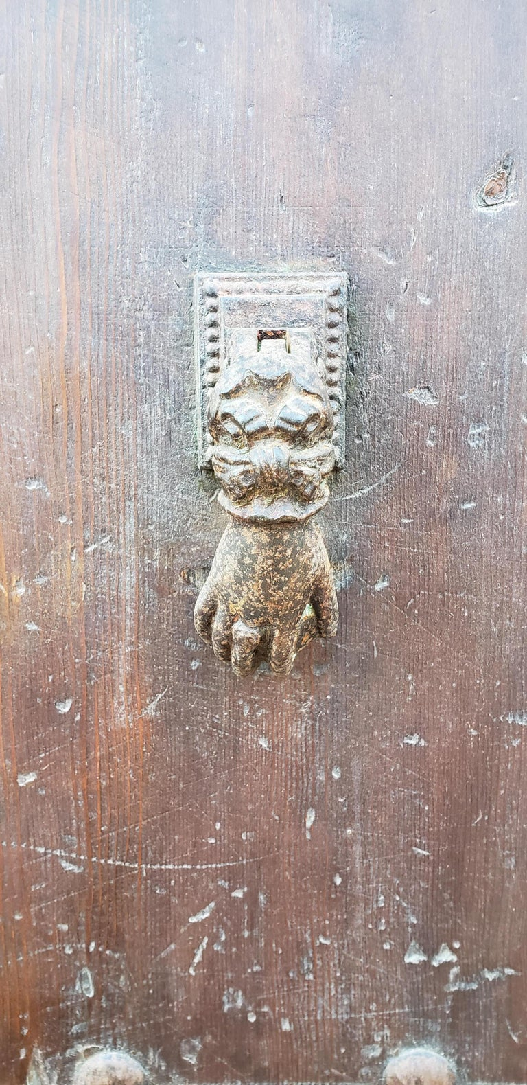Carved Old Brown Moroccan Wooden Door, 23MD38 For Sale