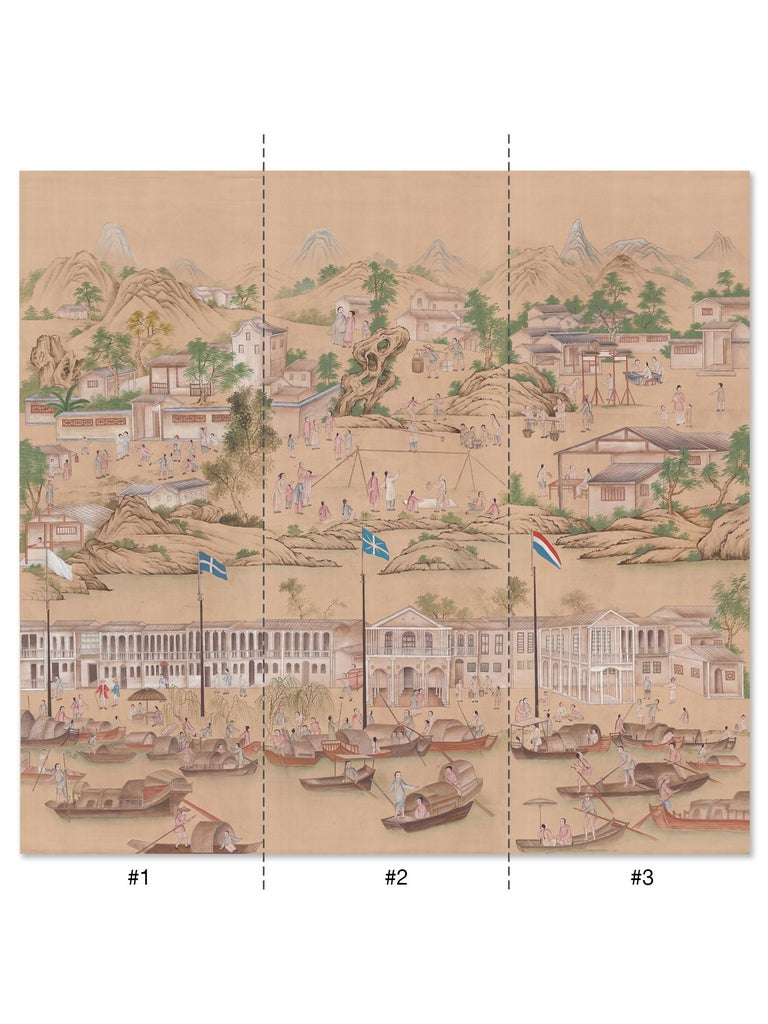 Old Canton captures the romantic age of western expansion in china as commercial influences began to appear. This mural is hand painted in the chinoiserie style on silk paper depicting the daily life of cities like Canton and Macau in the mid 18th