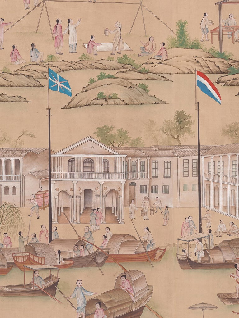 Chinoiserie Old Canton Mural For Sale