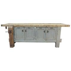 Old Carpenter Vice Work Bench Buffet circa 1930 with 2 Doors