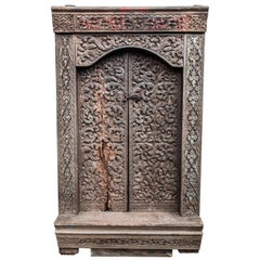 Old Carved Door and Frame from Sumatra, Merbau Wood, Early to Mid-20th Century.