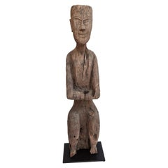Old Carved Wooden Figure South or Southwest China, Early 20th Century Mounted