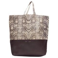 OLD CELINE brown python burgundy leather bi-color vertical cabas tote bag