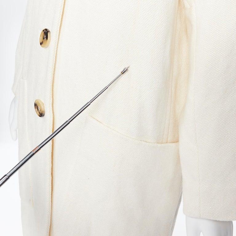 OLD CELINE PHOEBE PHILO 100% linen raw frayed hem beige cocoon coat jacket FR34 For Sale 5