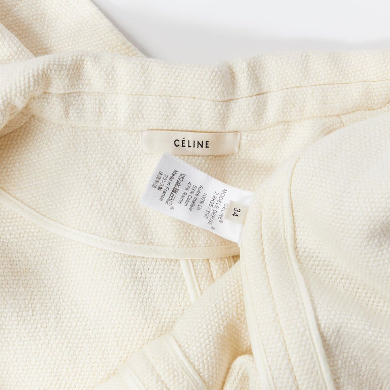 OLD CELINE PHOEBE PHILO 100% linen raw frayed hem beige cocoon coat jacket FR34 For Sale 7
