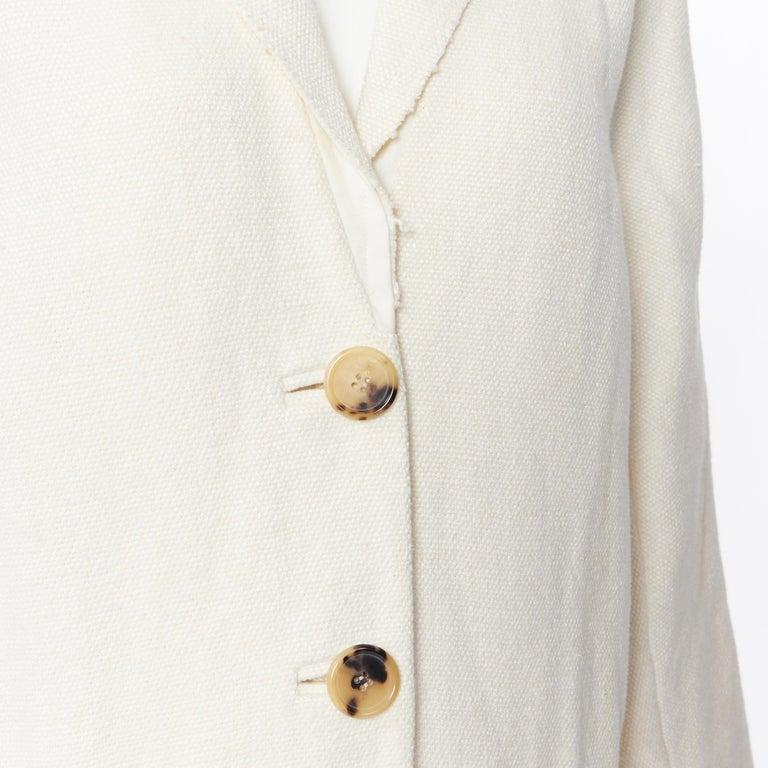 OLD CELINE PHOEBE PHILO 100% linen raw frayed hem beige cocoon coat jacket FR34 Brand: Celine Model Name / Style: Linen coat Material: Linen Color: Beige Pattern: Solid Closure: Button Extra Detail: Dual patch front pockets. Made in: