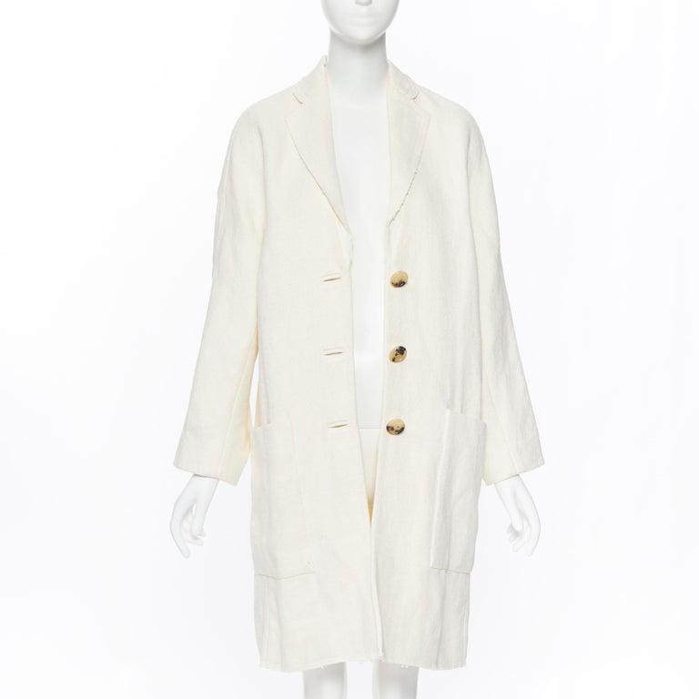 Beige OLD CELINE PHOEBE PHILO 100% linen raw frayed hem beige cocoon coat jacket FR34 For Sale