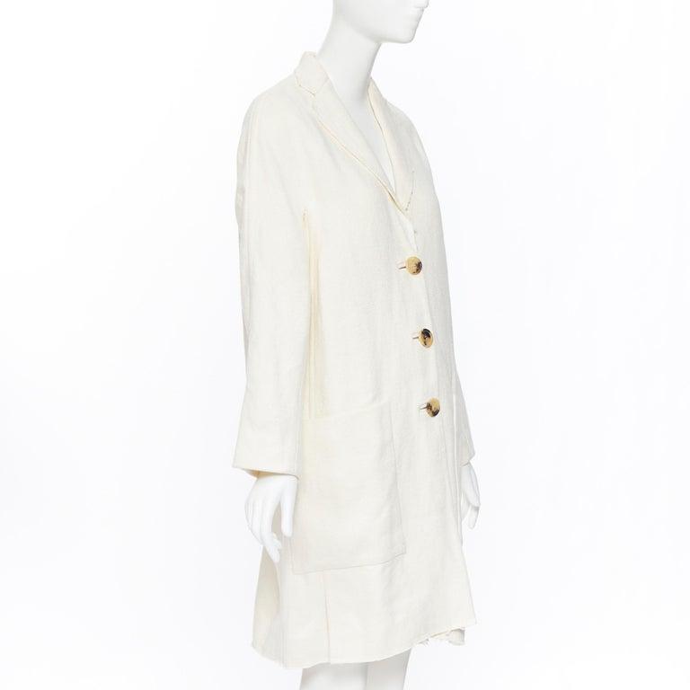 OLD CELINE PHOEBE PHILO 100% linen raw frayed hem beige cocoon coat jacket FR34 In Excellent Condition For Sale In Hong Kong, NT
