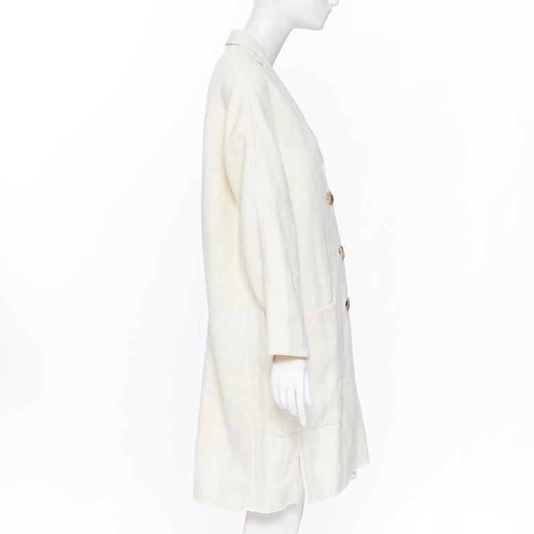 Women's OLD CELINE PHOEBE PHILO 100% linen raw frayed hem beige cocoon coat jacket FR34 For Sale