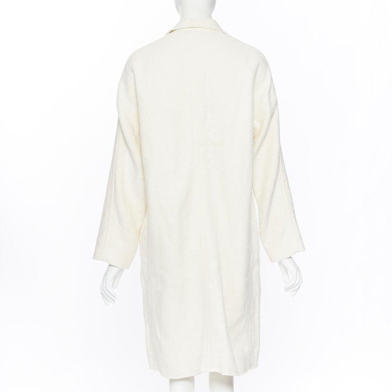OLD CELINE PHOEBE PHILO 100% linen raw frayed hem beige cocoon coat jacket FR34 For Sale 1