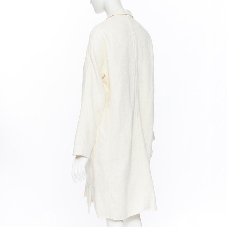 OLD CELINE PHOEBE PHILO 100% linen raw frayed hem beige cocoon coat jacket FR34 For Sale 2