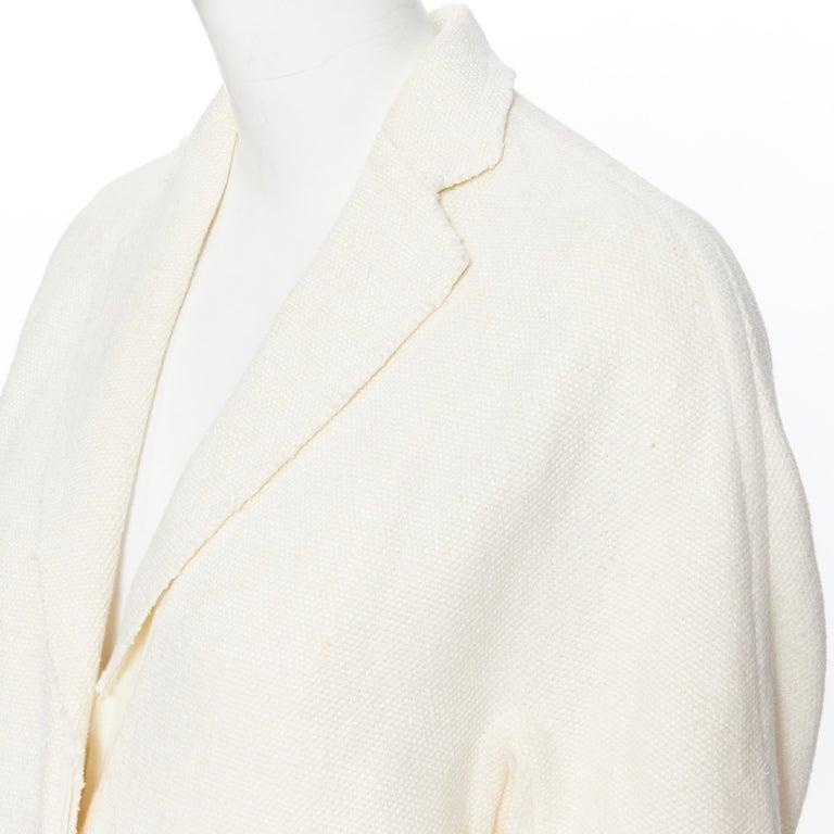 OLD CELINE PHOEBE PHILO 100% linen raw frayed hem beige cocoon coat jacket FR34 For Sale 3