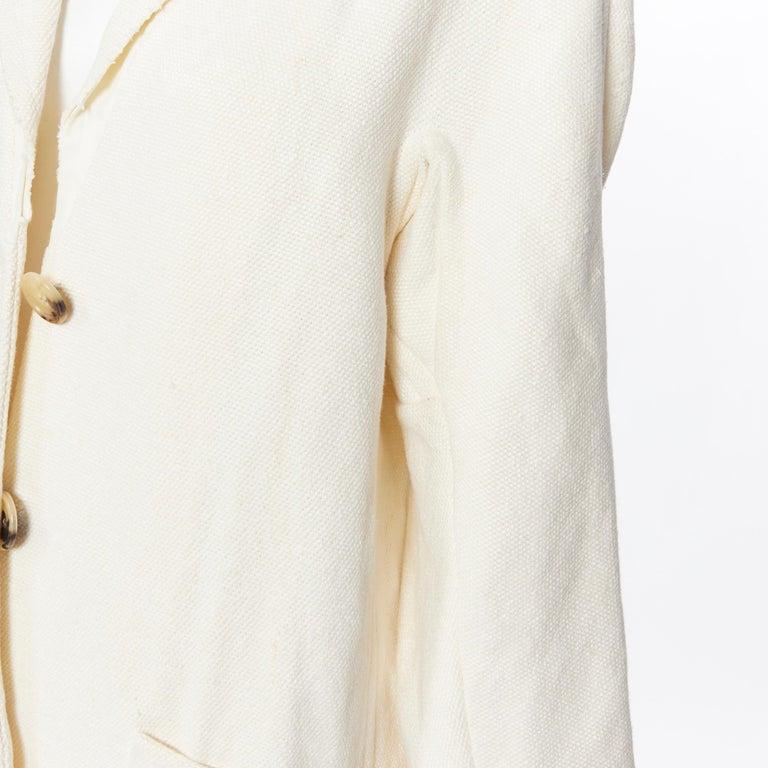 OLD CELINE PHOEBE PHILO 100% linen raw frayed hem beige cocoon coat jacket FR34 For Sale 4