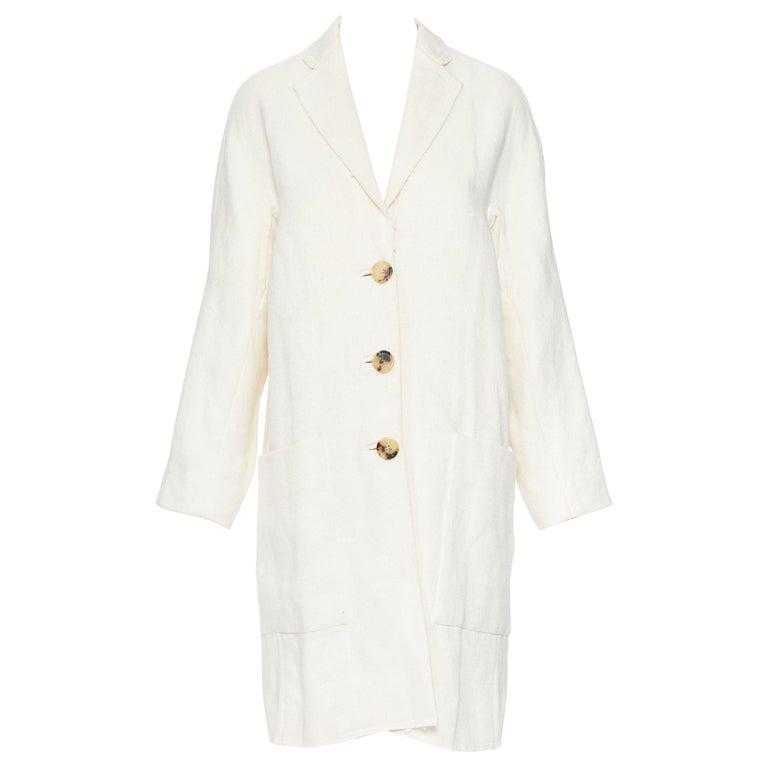 OLD CELINE PHOEBE PHILO 100% linen raw frayed hem beige cocoon coat jacket FR34 For Sale