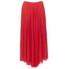 OLD CELINE PHOEBE PHILO 100% polyester poppy red pleated raw cut hem skirt FR36