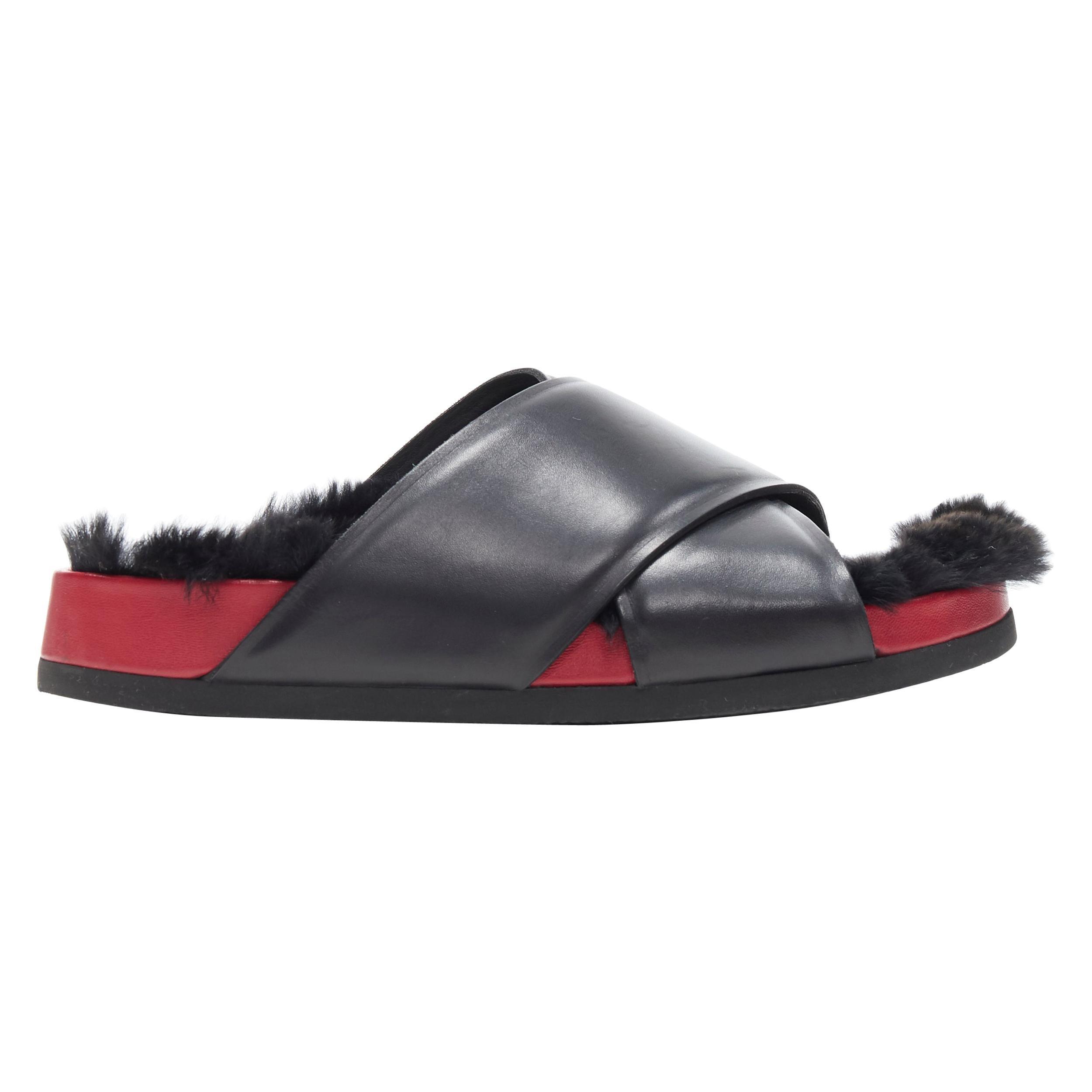 OLD CELINE PHOEBE PHILO black fur lined red outsole cross Boxy slides EU38