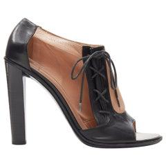 OLD CELINE PHOEBE PHILO black nude leather lace open side peep toe bootie EU40.5