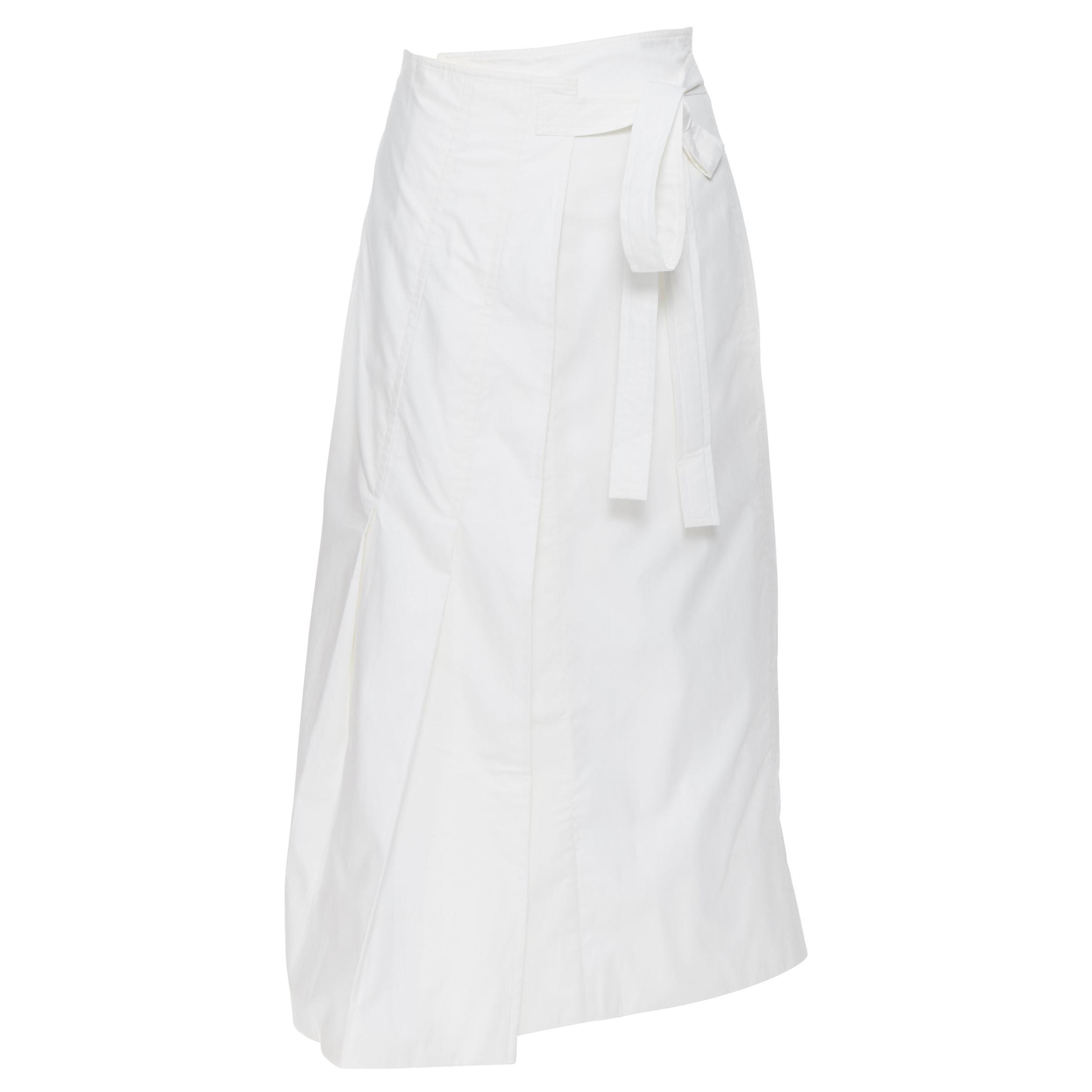 OLD CELINE PHOEBE PHILO white cotton wrap self tie darted midi skirt XS