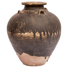 Old Ceramic Jar from North Thailand. 14th - 16th Centuries. 14.75 Inches Tall