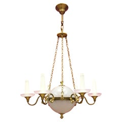 Old Chandelier in White Opaline and Bronze, circa 1930-1950